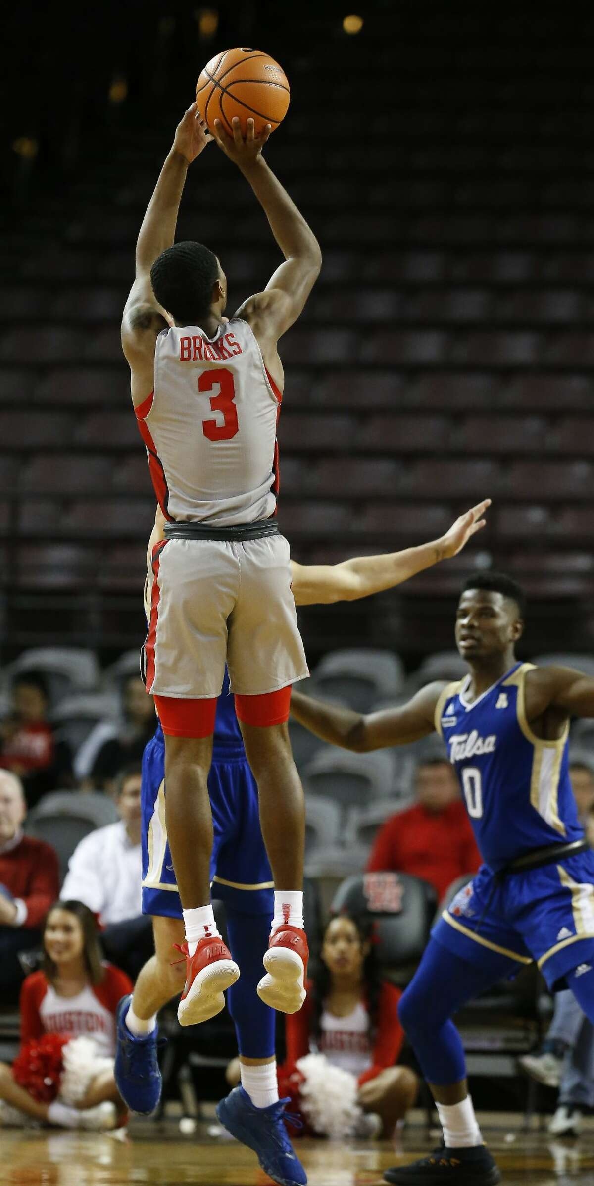 Houston guard Armoni Brooks (3) shoots a three-pointer during action at H&PE Arena, TSU Campus Thursday, Jan. 11, 2018, in Houston. ( Steve Gonzales / Houston Chronicle )