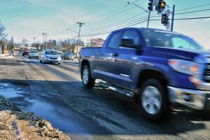 Traffic pours through the the four lane portion of Delaware Avenue Wednesday Jan. 10, 2018 in Bethlehem, NY.  (John Carl D'Annibale/Times Union)