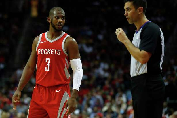 Houston Rockets guard Chris Paul (3) talks with referee Zach Zarba during the second half of an NBA basketball game at Toyota Center, Wednesday, Dec. 20, 2017, in Houston.   ( Karen Warren / Houston Chronicle )
