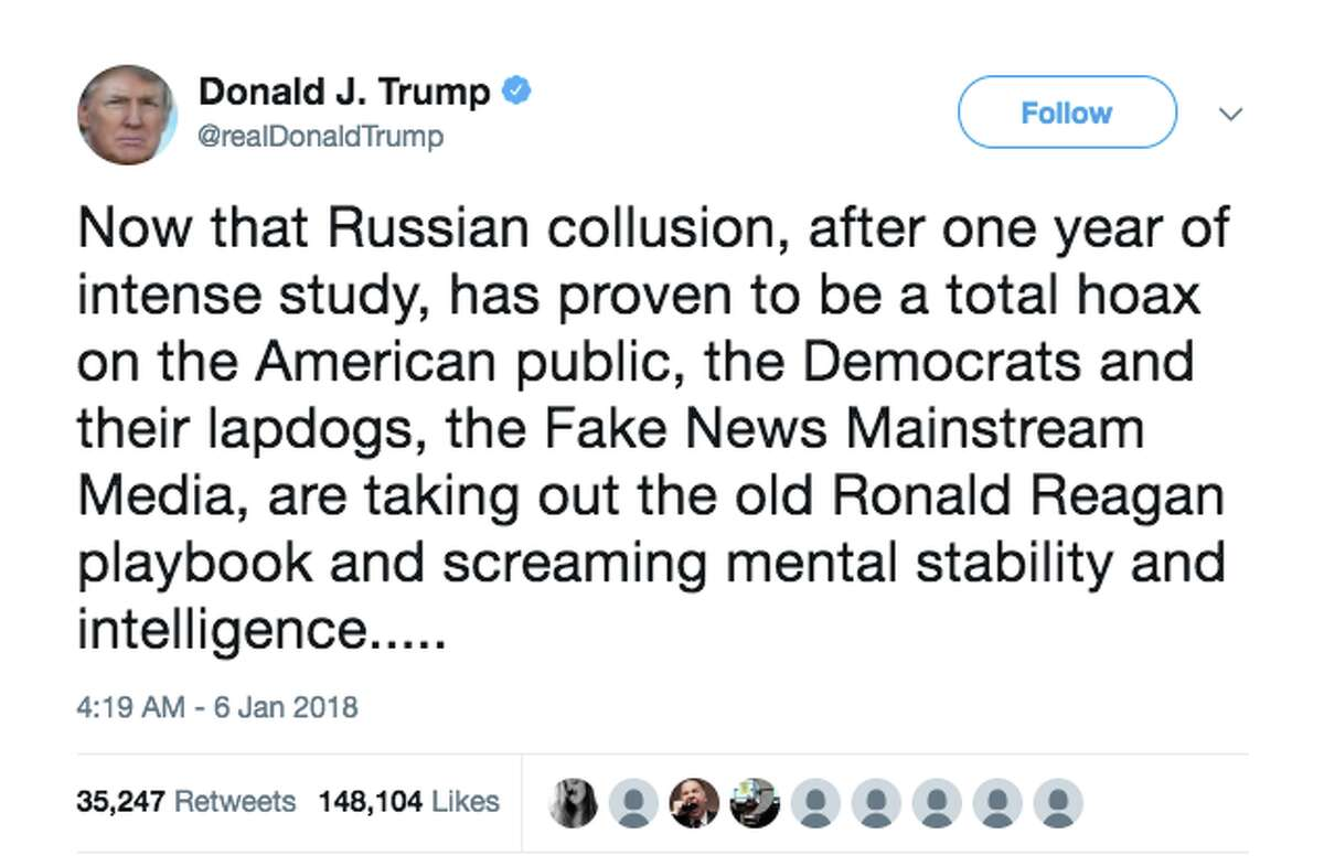 President Trump's most significant tweets since he became president January 6, 2018 President Trump tweeted this in response to questions over his mental fitness. Part one of three.