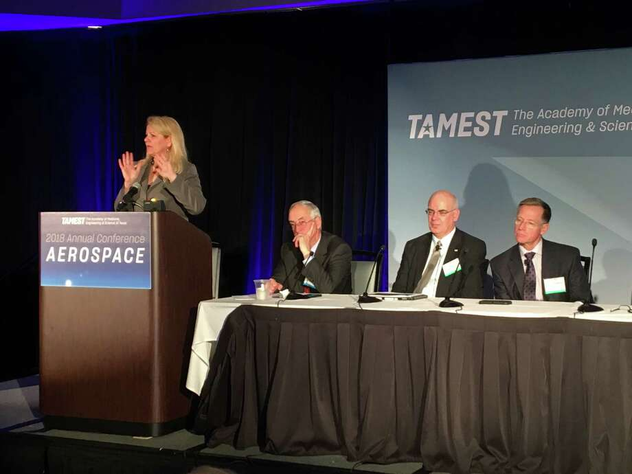 Gwynne Shotwell president and chief operating officer of SpaceX talks at an event in League City hosted by The Academy of Medicine Engineering and Science of Texas on Thursday Jan. 11 2018