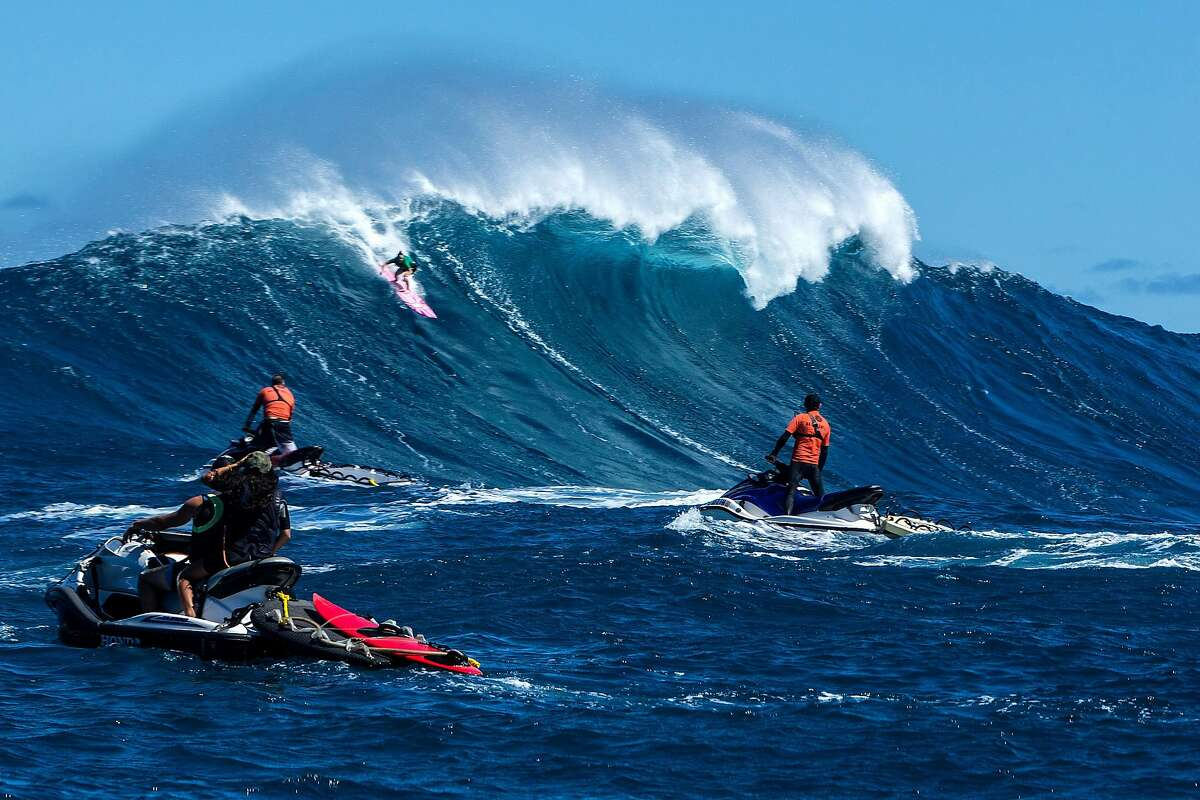 The women's heat at the Pe�ahi Challenge at Pe�ahi/Jaws on the World Surf League's Big Wave World Tour on Saturday October 28, 2017. Bianca Valenti, a San Francisco native who turned 32 years old on Saturday finished 4th place in the competition . Paige Alms (Maui) won for the second straight year. Ian Walsh (Maui) won the men's event. Waves reached up to 40 feet high.
