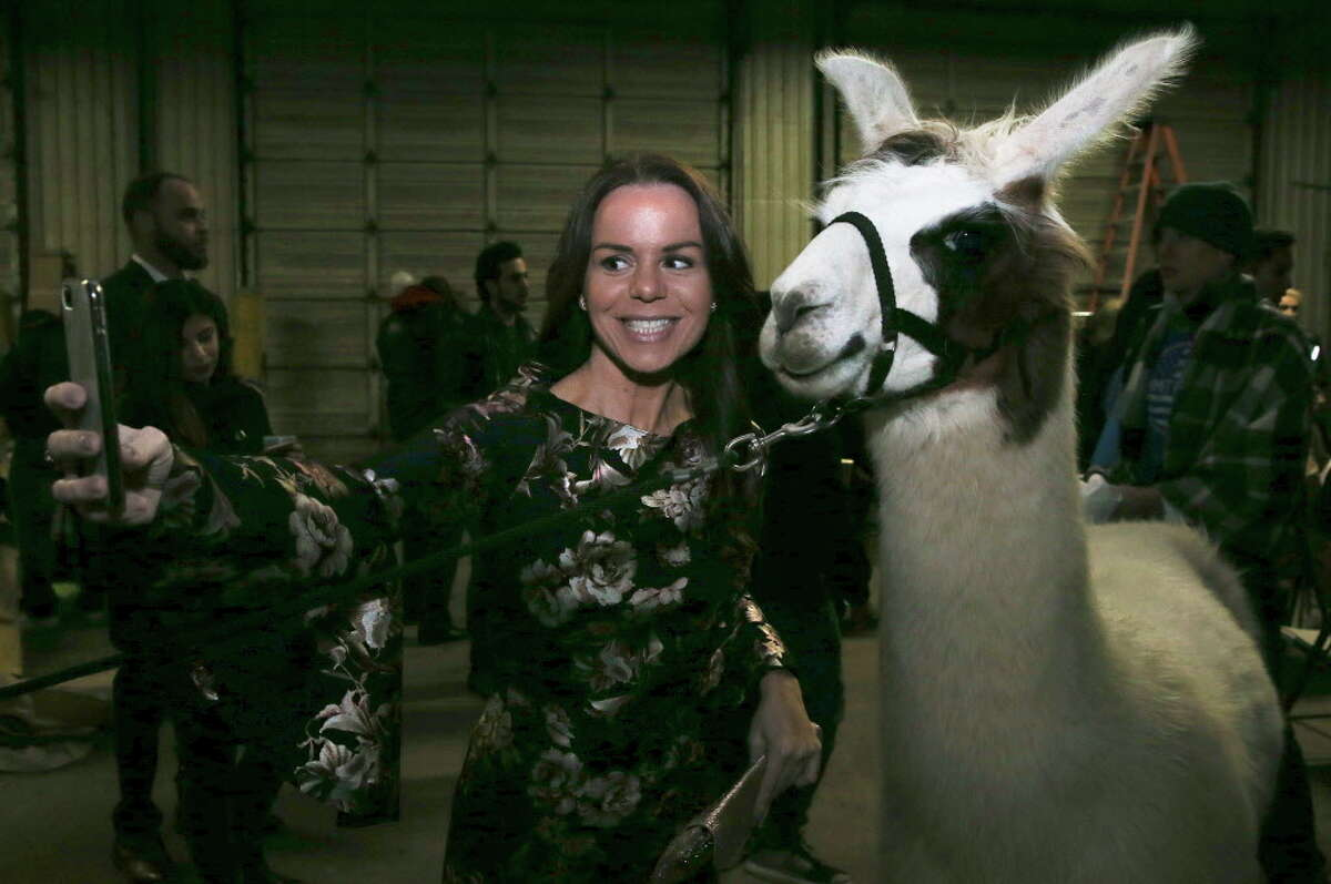 A participant of When Worlds Collide Fashion Show take a selfie with a llama at The Factory on Thursday, Jan. 11, 2018, in Houston.