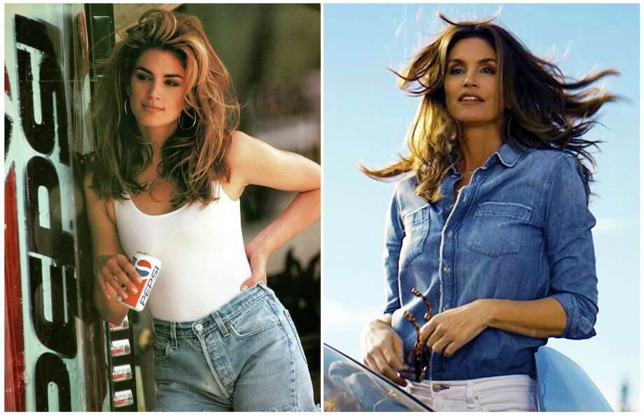 This combination of photos released by Pepsi shows actress-model Cindy Crawford in a scene from her 1992 iconic Super Bowl Pepsi commercial, left, and a scene from her 2018 commercial which will premiere during Super Bowl LII on Feb. 4. The new ad includes her son, Presley Walker Gerber, as well as footage from Michael Jackson's memorable Pepsi commercial. (Pepsi via AP) / Pepsi