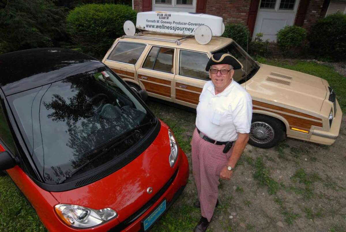Ken Goewey of Wynantskill spent years as the ?What a guy!? Dodge and electric car dealer. Today, he wants to be governor at age 72. (Michael P. Farrell/Times Union)