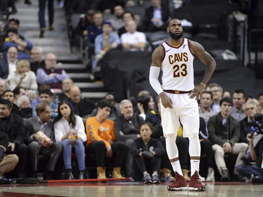 Cleveland Cavaliers forward LeBron James (23) reacts during a break in play during the second half of the team's NBA basketball game against the Toronto Raptors on Thursday, Jan. 11, 2018, in Toronto. (Frank Gunn/The Canadian Press via AP) Photo: Frank Gunn, Associated Press