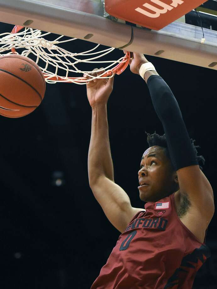 Stanford forward Kezie Okpala (0) dunks during the second halfagainst Washington State in Pullman, Wash. Photo: Pete Caster, Associated Press