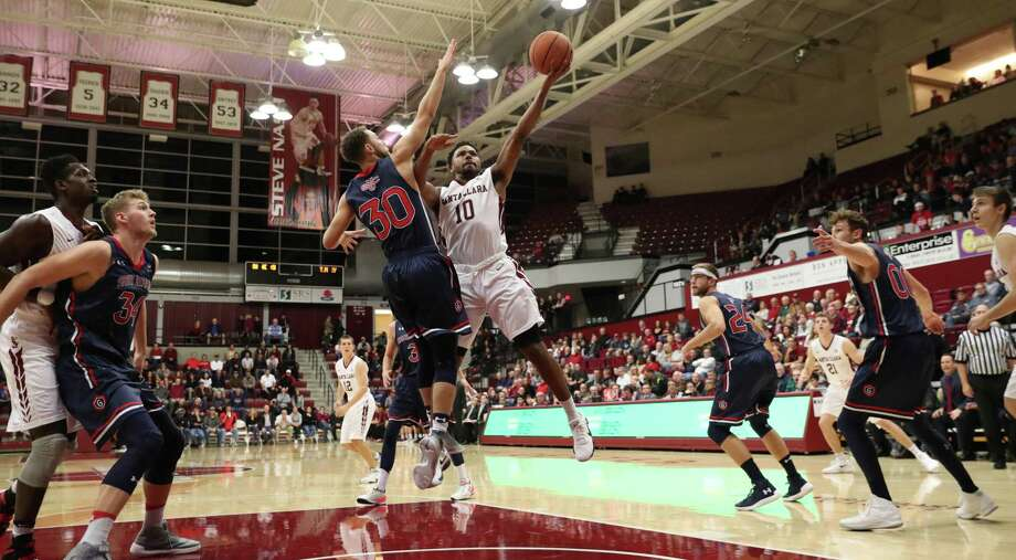 St. Mary's Men's basketball team took on Santa Clara University at the Leavey Center in Santa Clara, Calif. on January 11, 2018. Junior Guard KJ Feagin (#10) goes if for a layup during the first half of play. Photo: Donald Jedlovec / Santa Clara University / Donald Jedlovec / Santa Clara University