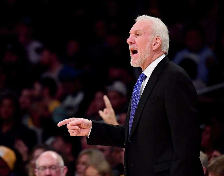 LOS ANGELES, CA - JANUARY 11:  Gregg Popovich of the San Antonio Spurs talks to his players from the sidelines during the first half against the Los Angeles Lakers at Staples Center on January 11, 2018 in Los Angeles, California. Photo: Harry How, Getty Images / 2018 Getty Images