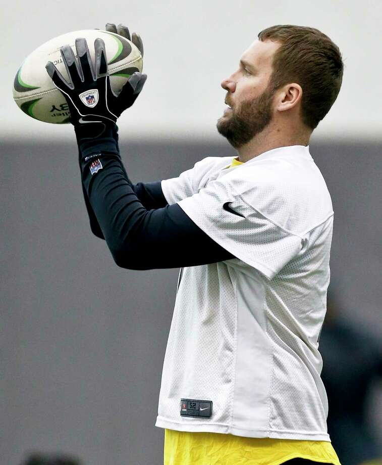 Pittsburgh Steelers quarterback Ben Roethlisberger (7) warms up with a rugby ball during an NFL football practice, Thursday, Jan. 11, 2018, in Pittsburgh. The Steelers host the Jacksonville Jaguars in a divisional playoff on Sunday. (AP Photo/Keith Srakocic) Photo: Keith Srakocic / Copyright 2018 The Associated Press. All rights reserved.