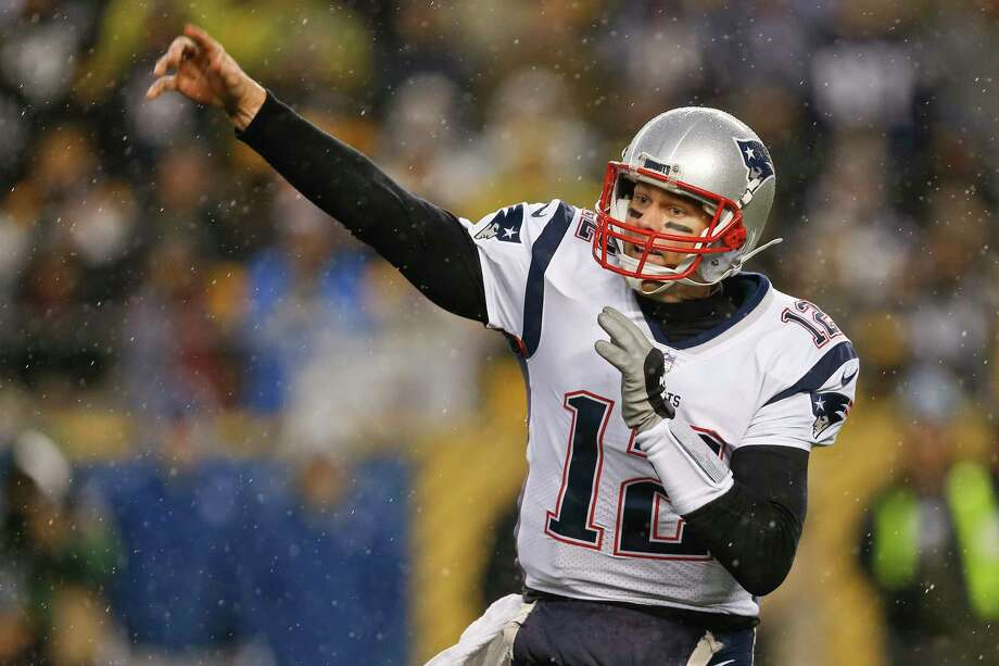 FILE - In this Dec. 17, 2017, file photo, New England Patriots quarterback Tom Brady (12) plays against the Pittsburgh Steelers, in an NFL football game, in Pittsburgh.  If Brady's history against Tennessee is any indication, New England's prospects of making it back to the AFC title game look promising. Brady is 6-0 in his career against Mike Mularkey-coached teams. Including the playoffs, he's 6-1 against the Titans with 13 passing touchdowns and just one interception in those games. It is his best touchdown to interception ratio against any opponent in his career.(AP Photo/Keith Srakocic, File) Photo: Keith Srakocic / Copyright 2017 The Associated Press. All rights reserved.