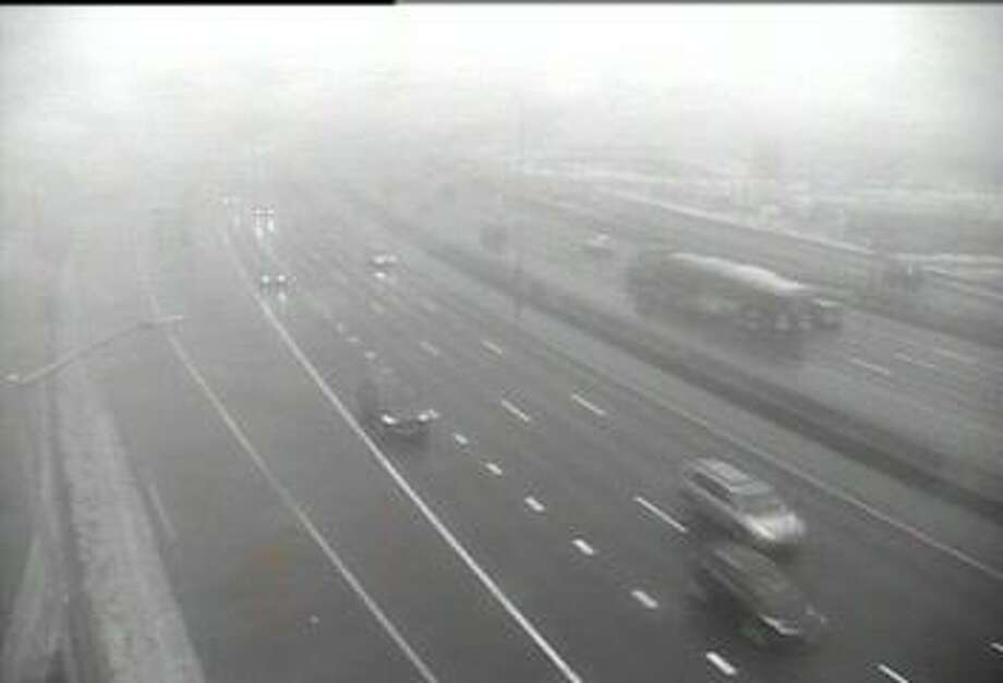 Thick fog over I-95 in Bridgeport on Friday, Jan. 12, 2018. Photo: /