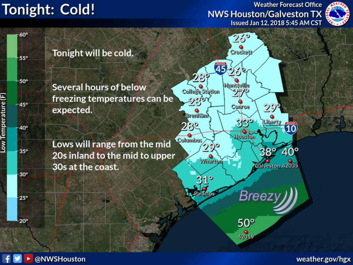 A breezy, cold day is ahead, the National Weather Service says.