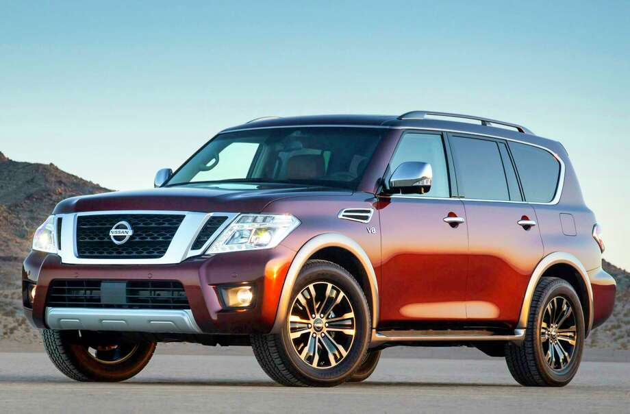 Nissan's second-generation Armada full-size SUV starts at $45,600 (plus $1,195 freight) for 2018, and ranges to $61,950 for the top model, the Platinum four-wheel drive, shown here in the Forged Copper color. The big three-row SUV can tow trailers weighing up to 8,500 pounds, thanks to its 390-horsepower Endurance V-8 engine and seven-speed automatic transmission. Photo: Nissan / Nissan