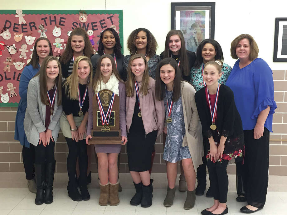 The Liberty Middle School eighth-grade girls' basketball team was recognized Monday night during the Edwardsville District 7 Board of Education meeting for winning the Illinois Elementary School Association Class 4A state championship. Photo: Julia Biggs • Jbiggs.edwi@gmail.com