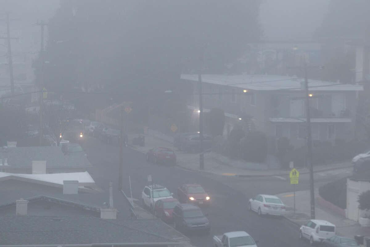 A heavy fog covers Oakland on Friday morning, January 12, 2018.