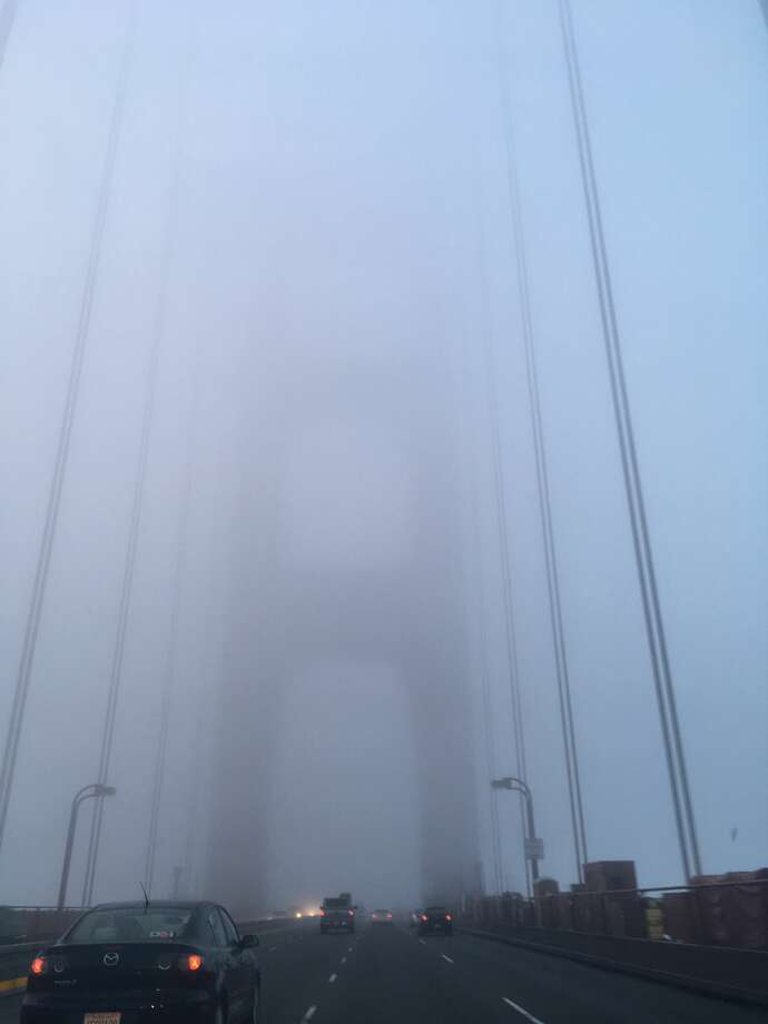 Fog enshrouds the Golden Gate Bridge during the morning commute on January 12, 2018. Photo: Bill Disbrow / SFGate