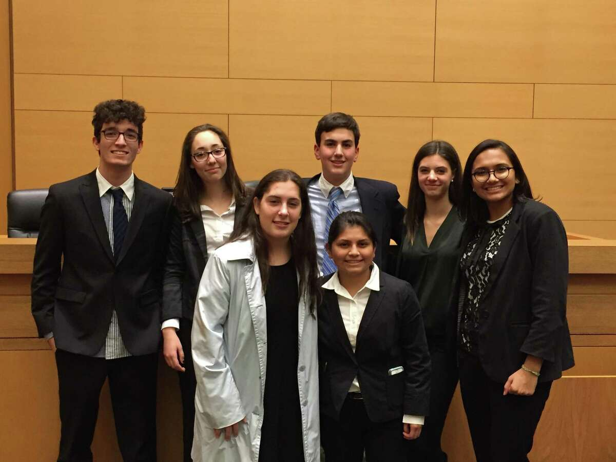 The Westhill High School mock trial team recently defeated Stonington High.