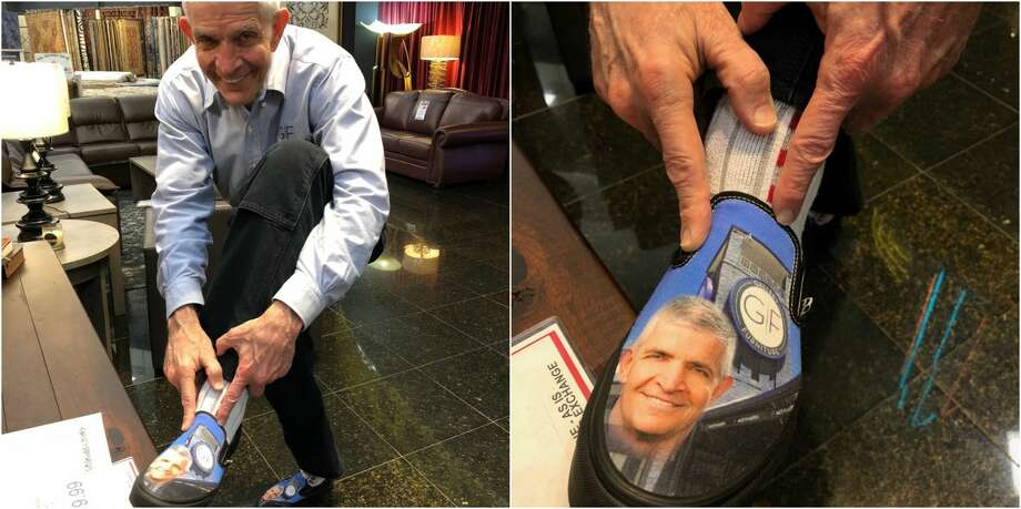 "Houston celebrity and humanitarian Jim ""Mattress Mack"" McIngvale got a new, fresh pair of shoes this week in honor of all he's done this past year for Houstonians.  Photo: Laura McIngvale"