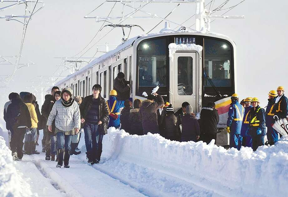 Train passengers stranded by snow in Niigata