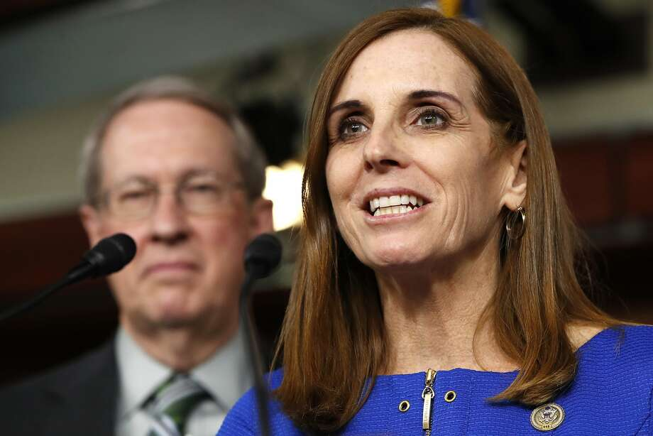 """FILE - In this Jan. 10, 2018 file photo, House Homeland Security Border and Maritime Security Subcommittee Chairwoman Rep. Martha McSally, R-Ariz., right, speaks during a news conference with House Judiciary Committee Chairman Rep. Bob Goodlatte, R-Va. on Capitol Hill in Washington.  McSally called on the national GOP to """"grow a pair of ovaries"""" as she launched her bid for the U.S. Senate on Friday, Jan. 12, joining the race to replace retiring GOP Sen. Jeff Flake by embracing President Donald Trump and his outsider playbook in one of the nation's premier Senate contests. (AP Photo/Jacquelyn Martin, File) Photo: Jacquelyn Martin, Associated Press"""