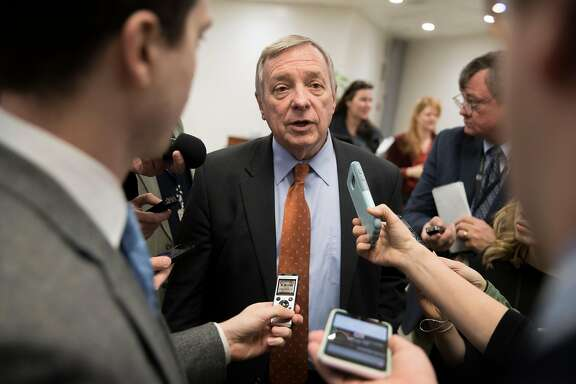**EDS: PLEASE NOTE POTENTIALLY OBJECTIONABLE CONTENT IN CAPTION.** FILE -- Sen. Dick Durbin (D-Ill.) speaks to reporters on Capitol Hill in Washington, Dec. 13, 2017. Durbin said on Jan. 12, 2018, that President Donald Trump used the term �shithole,� referring to African counties, repeatedly during the course of a Jan. 11 meeting on immigration � which Durbin attended. (Tom Brenner/The New York Times)