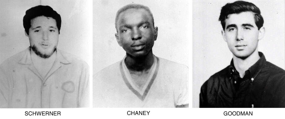 "On June 29, 1964, the FBI began distributing these pictures of civil rights workers, from left, Michael Schwerner, 24, of New York, James Chaney, 21, from Mississippi, and Andrew Goodman, 20, of New York, who disappeared near Philadelphia, Miss., June 21, 1964.  The three civil rights workers, part of the ""Freedom Summer"" program, were abducted, killed and buried in an earthen dam in rural Neshoba County.  (AP Photo/FBI) Photo: Anonymous/AP"