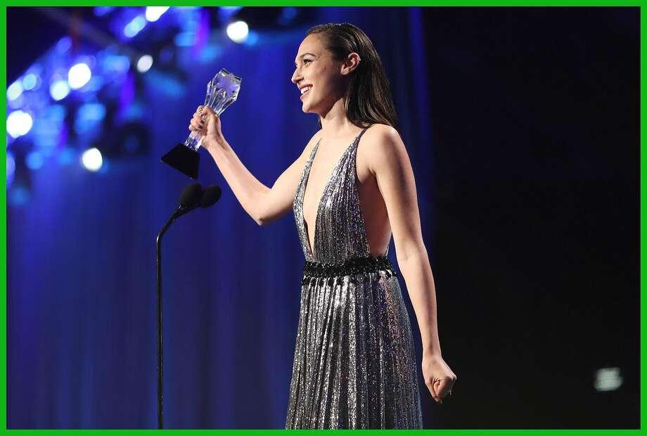 """""""Wonder Woman"""" star Gal Gadot accepts the #SeeHer award at the Critics' Choice Awards. Photo: Christopher Polk, Getty Images For The Critics' Ch"""