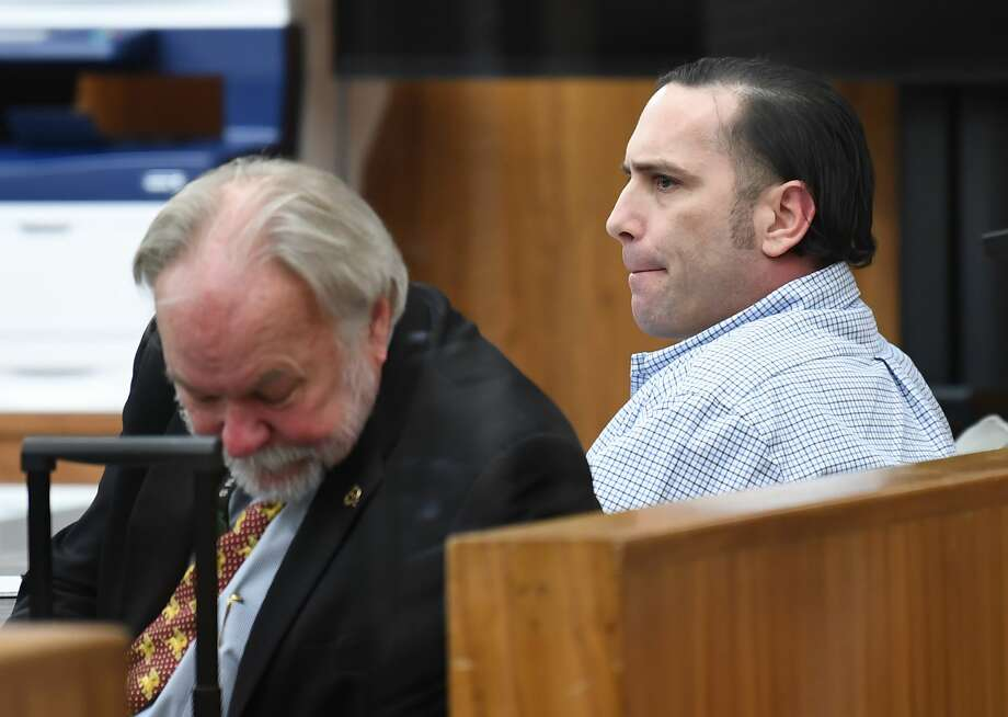 Hardin County capital murder suspect Jason Wade Delacerda, right, in a Kountze courtroom Tuesday morning for the start of jury selection. Delacerda, 40, is accused of killing a 4-year-old girl in 2011. One of his two defense attorneys has requested a change of venue. A judge is expected to rule on that motion Friday. Attorney James Makin is also pictured. Photo taken Tuesday, January 09, 2018 Guiseppe Barranco/The Enterprise Photo: Guiseppe Barranco