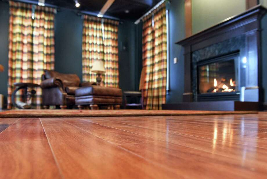 Teak flooring in the British library under construction at Laura Lehner's home Tuesday Jan. 9, 2018 in Milton, NY.  (John Carl D'Annibale / Times Union) Photo: John Carl D'Annibale / 20042605A