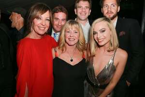 """HOLLYWOOD, CA - DECEMBER 05:  (L-R) Allison Janney, Steven Rogers, Tonya Harding, Bryan Unkeless, Margot Robbie and Ricky Russert attend the after party for the premiere of Neon and 30 West's """"I, Tonya"""" on December 5, 2017 in Hollywood, California.  (Photo by Rich Fury/Getty Images)"""