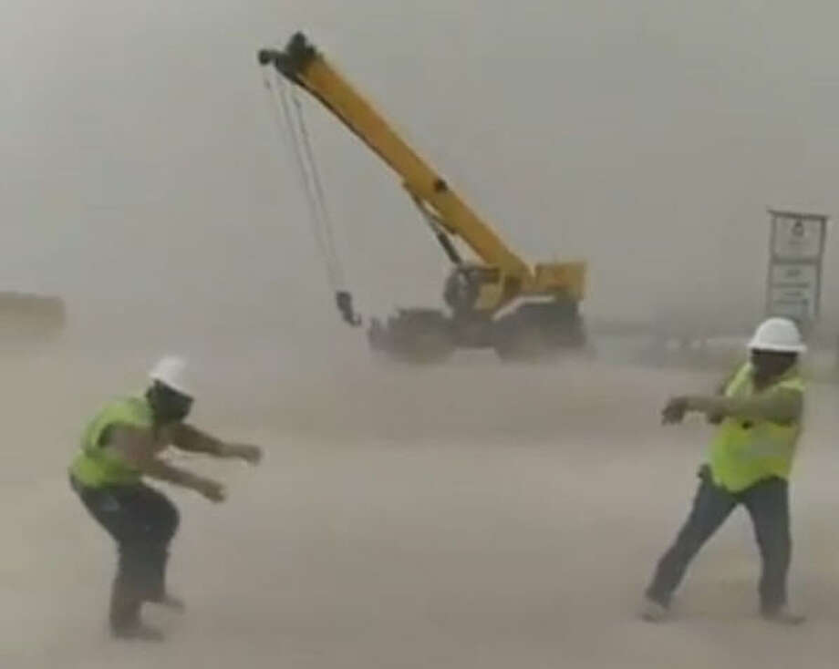 Workers near Pecos, Texas, were caught in a sandstorm that swept through the area on January 10.