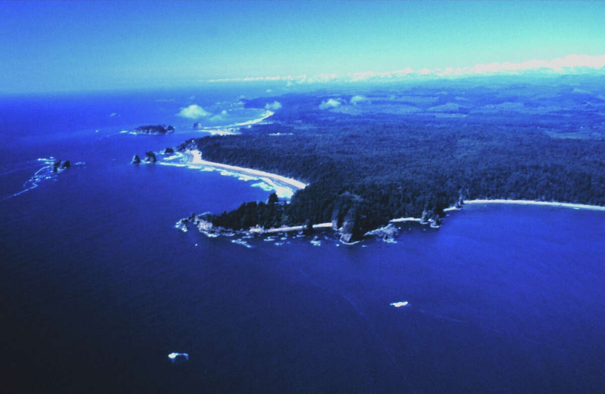 An aerial view of Teahwhit Head and James Island in the Olympic Coast National Marine Sanctuary.
