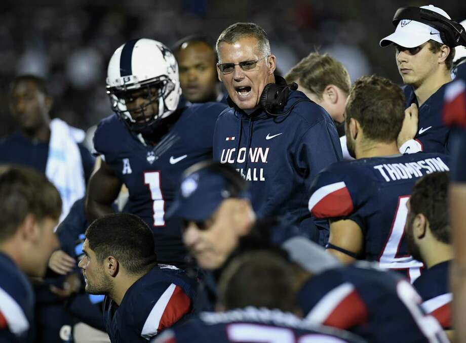 Connecticut head coach Randy Edsall talks to his team during the second half of an NCAA college football game, Saturday, Oct. 28, 2017, in East Hartford, Conn. (AP Photo/Jessica Hill) Photo: Jessica Hill / AP / AP2017