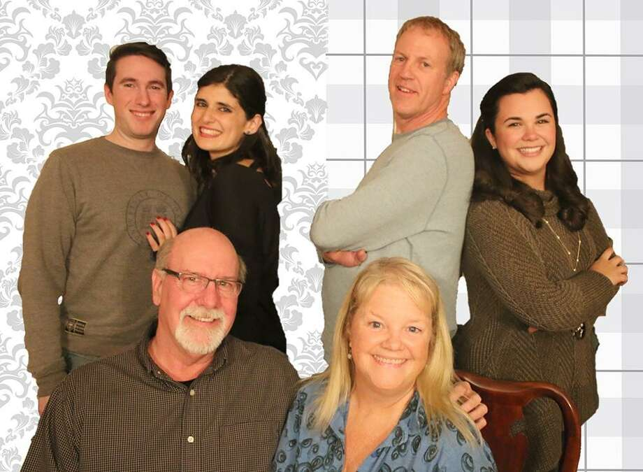 """Cast of """"How the Other Half Loves,"""" includes, Jim Hile and Terri Corigliano, sitting; Brett Aiello, left, Mena Buscetto, Dave Bell and Mary Corigliano, standing. Photo: Saybrook Stage / Contributed Photo"""