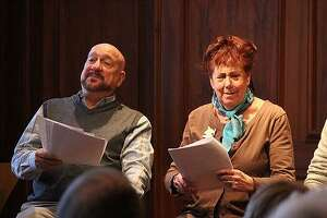 A scene from a past Play With Your Food play reading and lunch event. The new season runs January through April in Fairfield, Westport and Greenwich.