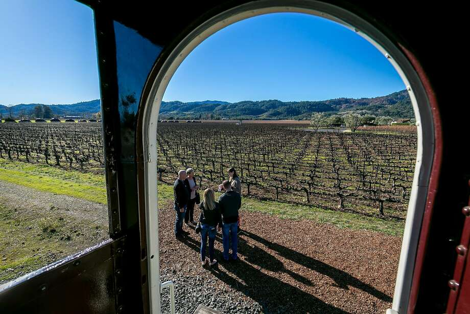 Passengers disembark from the Wine Train to take the Robert Mondavi Winery tour in Oakville. Photo: John Storey, Special To The Chronicle