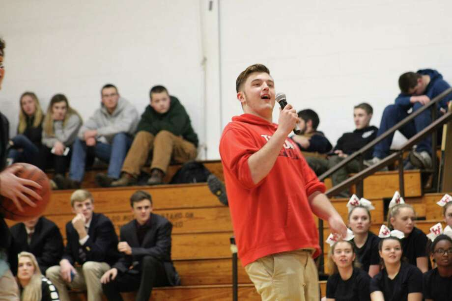 In anticipation of Wamogo Regional High School's girls and boys basketball games against longtime rival, Litchfeld High School today, Wamogo held a pep rally and celebration of all its sports clubs in the gym. Photo: Photos By Samantha Barrante