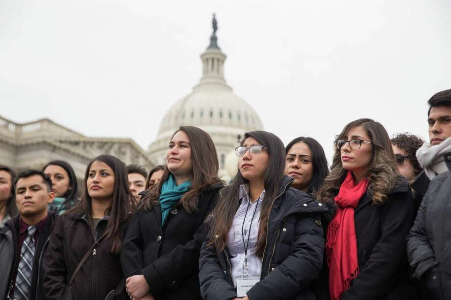 """FILE é' A group of young undocumented immigrants known as Dreamers at a rally outside the U.S. Capitol in Washington, Jan. 10, 2018. Some Republican claims about the Deferred Action for Childhood Arrivals policy exacerbating é'chain migrationé"""" have been overstated. (Erin Schaff/The New York Times) Photo: ERIN SCHAFF, STR / NYTNS"""