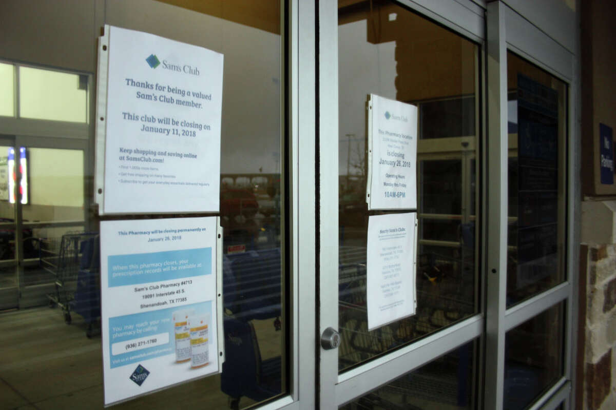 Notices were placed on the shuttered doors of 63 Sam's Club stores in the U.S. Thursday morning. The Sam's Club in New Caney was among those closed.