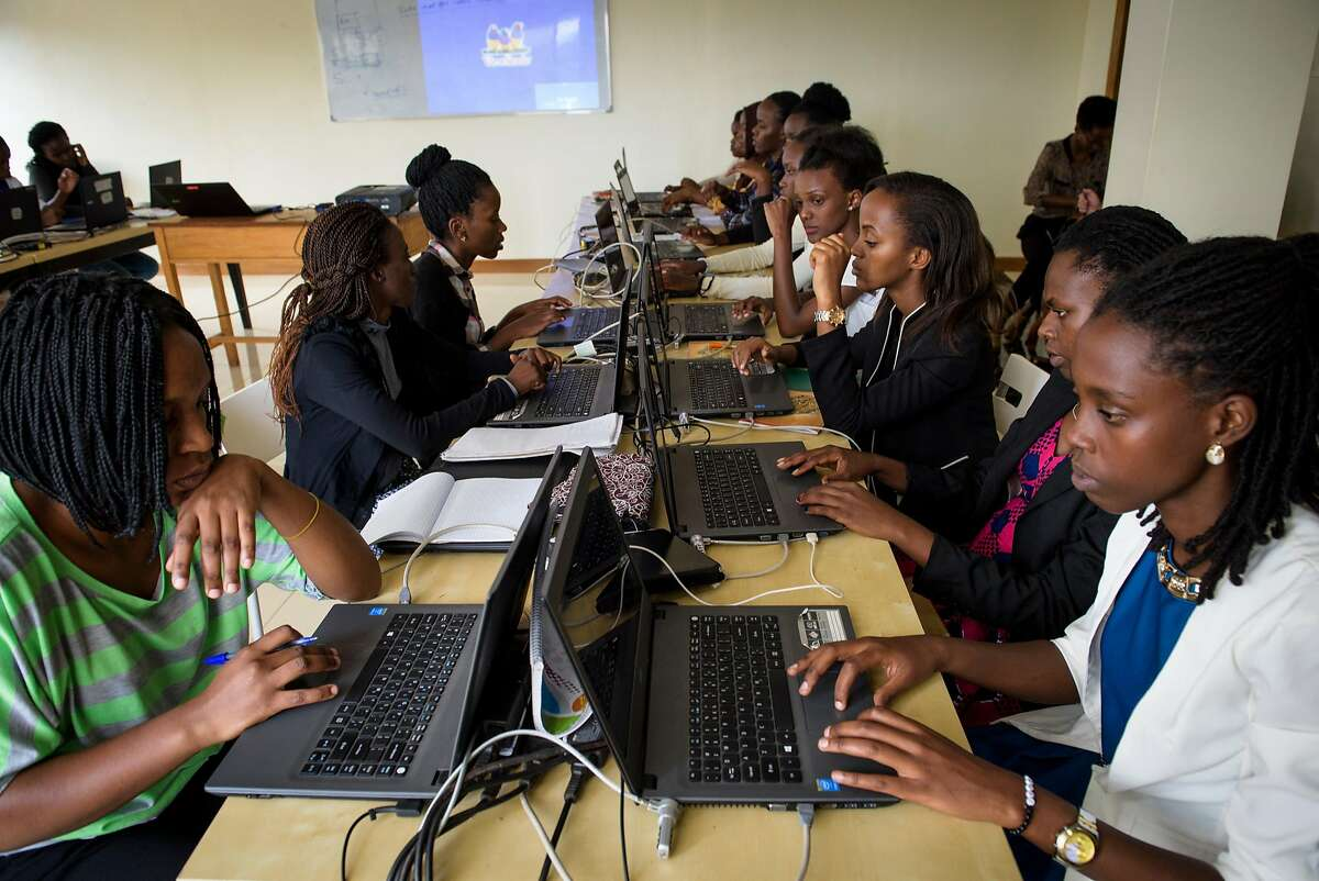 Students at the Akilah Institute on 17 Nov 2017 in Kigali, Rwanda. Akilah Institute is a non-profit college for women in Kigali, Rwanda. It is the first college for women in the country. The Institute offers three-year diplomas in entrepreneurship, hospitality management, and information systems.