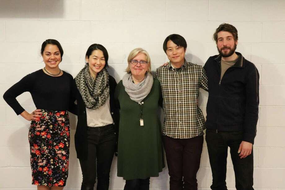 """Director Lisa Peterson, center, with """"Office Hour"""" actors, from left, Kerry Warren, Jackie Chung, Daniel Chung and Jeremy Kahn. Photo: Courtesy Of Long Wharf Theatre"""