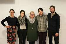 """Director Lisa Peterson, center, with """"Office Hour"""" actors, from left, Kerry Warren, Jackie Chung, Daniel Chung and Jeremy Kahn."""