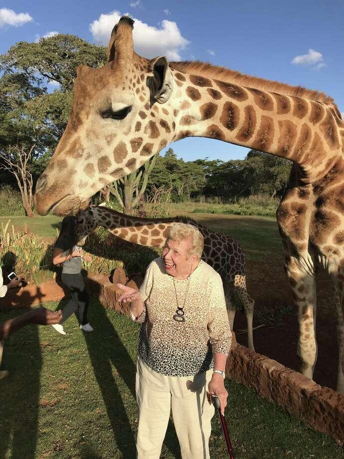 Jean Cherni at Giraffe Manor in Kenya. Photo: Contributed