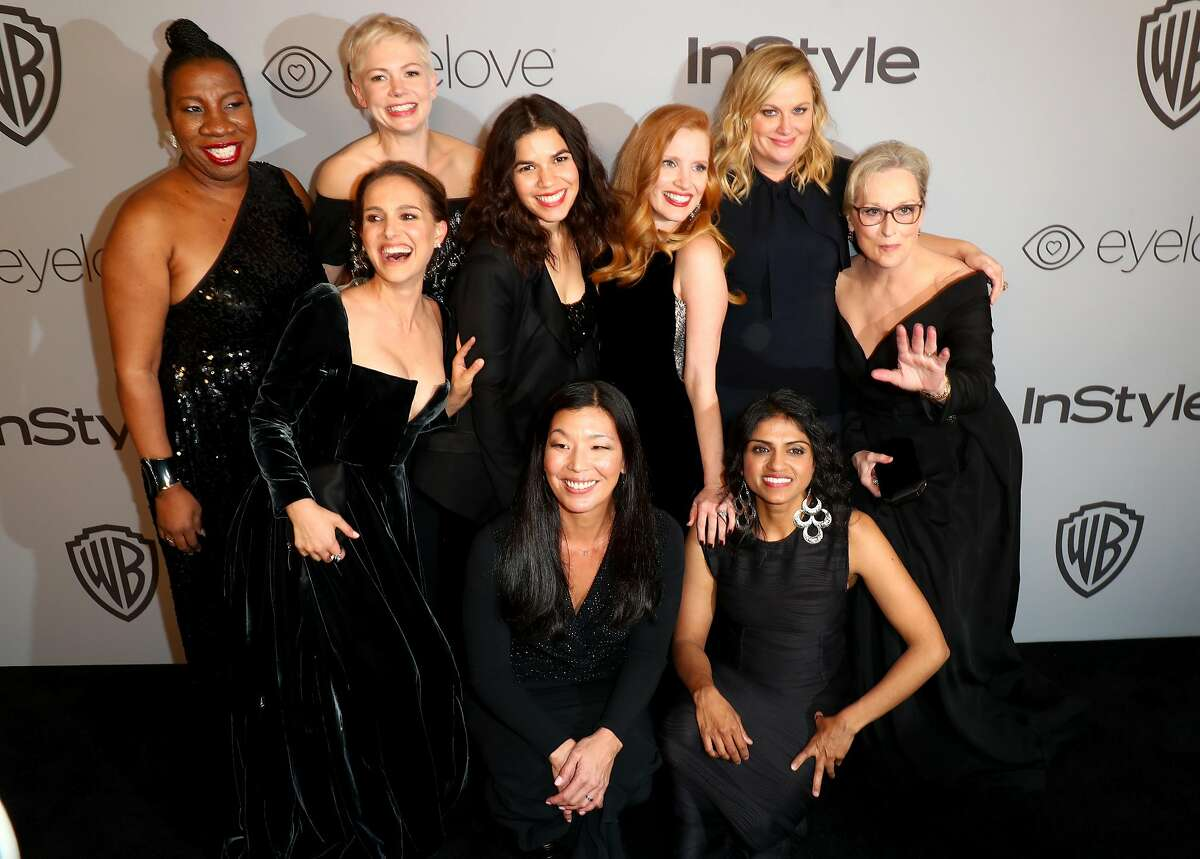 BEVERLY HILLS, CA - JANUARY 07: (Top L-R) Activist Rosa Clemente, actors Natalie Portman, Michelle Williams, America Ferrera, Jessica Chastain, Amy Poehler, Meryl Streep, (bottom L-R) activists Ai-jen Poo and Saru Jayaraman attend the 2018 InStyle and Warner Bros. 75th Annual Golden Globe Awards Post-Party at The Beverly Hilton Hotel on January 7, 2018 in Beverly Hills, California. (Photo by Joe Scarnici/Getty Images for InStyle)