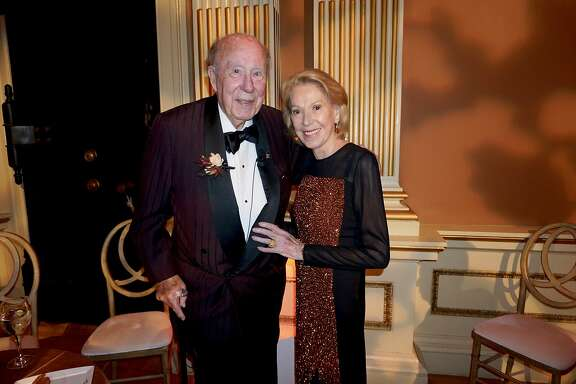 Former Secretary of State George Shultz and his wife, Protocol Chief Charlotte Shultz, at the Old Mint for a California Historical Society gala in his honor. Jan. 11, 2017.