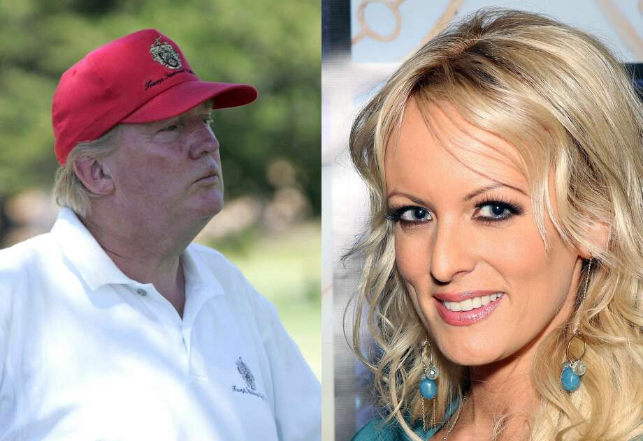 Donald Trump during the American Century Celebrity Golf Championship in 2006 and adult film actress Stormy Daniels. Photo: Wire Image/Getty Images