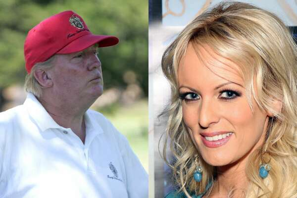 Donald Trump during the American Century Celebrity Golf Championship in 2006 and adult film actress Stormy Daniels.