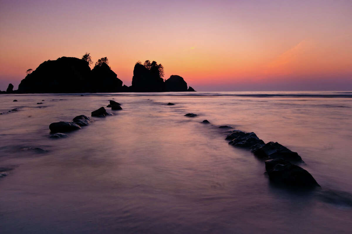 Shi Shi Beach and Point of Arches at dusk, Olympic National Park, Wash. Shi Shi was added to Olympic National Park in 1976, ending what had been a bohemian encampment.