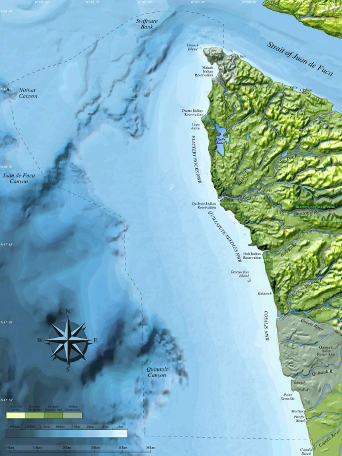 Olympic Coast National Marine Sanctuary, pictured in a National Oceanic and Atmospheric Administration map.